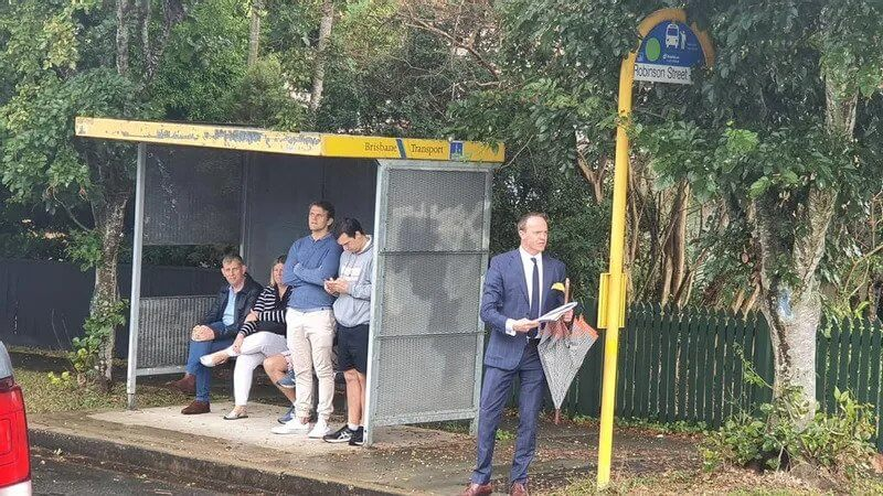 Mr Cush calls the auction from the nearby bus stop.