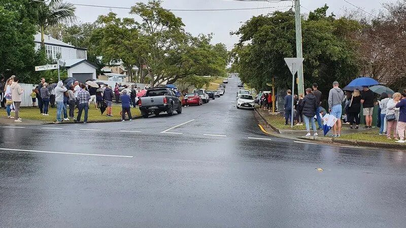 On Saturday it looked like this. The house going to auction was the white house on the left. Photo Debra Bela