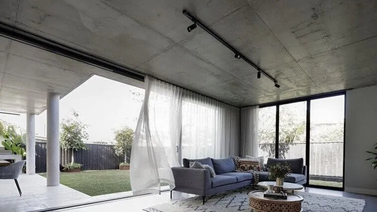 The home is a design masterpiece, with a heavy use of concrete.